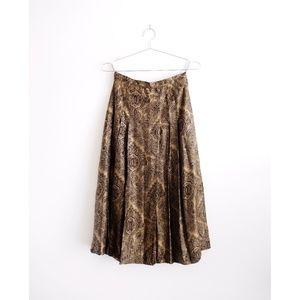 Vintage Roots Brown Paisley Pleated Midi Skirt 4